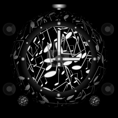 The clock-sphere stock photo, Brack clock in the form of spere from musical notes on black background by Alina Starchenko