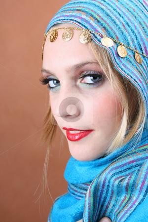 Folk Dress stock photo, Female model with blue eyes wearing traditional folk dress by Vanessa Van Rensburg
