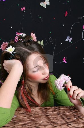 Bored stock photo, Teenage model with flowers and butterflies in her hair by Vanessa Van Rensburg