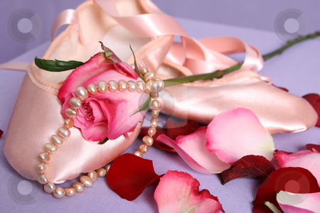 Ballet Shoe stock photo, Satin Ballet shoe with a pink rose and pearls by Vanessa Van Rensburg