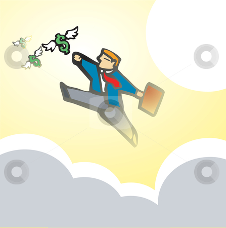 Businessman Chasing Money #2 stock vector clipart, Businessman chases winged money that is escaping. by Jeffrey Thompson