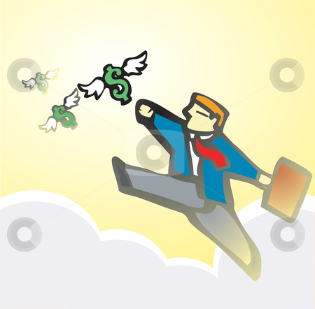 Businessman Chasing Money stock vector clipart, Businessman chases winged money that is escaping. by Jeffrey Thompson