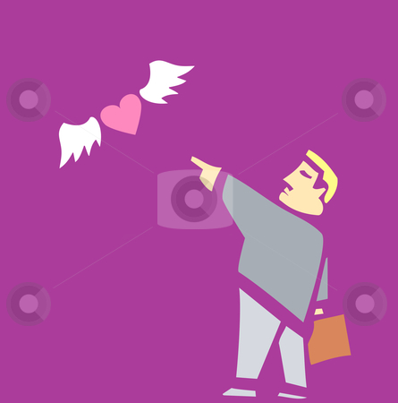 Divorce stock vector clipart, Man sends his heart away on wings. by Jeffrey Thompson