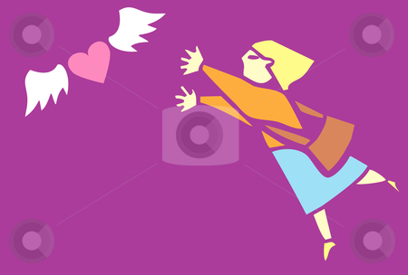 Looking for Love stock vector clipart, Woman chases after an image of love depicted as a winged heart. by Jeffrey Thompson