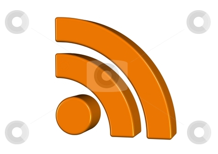 RSS symbol in 3D stock photo, 3d render of the rss symbol isolated on white by Oliver Klimek