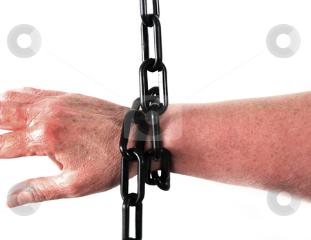 Chains stock photo, Stock pictures of the arm of a person chained by Albert Lozano