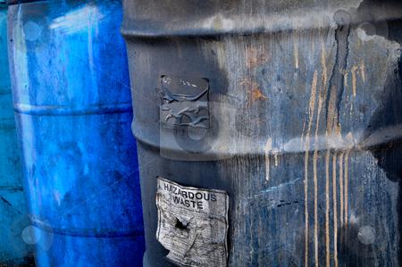 Hazardous Waste stock photo, Hazardous and Toxic Waste Barrels storing pollution by Brandon Bourdages