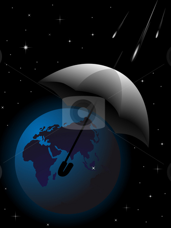 Rescue of planet the Earth stock photo, The abstract image of protection of planet the Earth from threat from space by Alina Starchenko