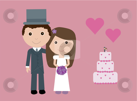 Cute bride and groom stock vector clipart, Vector illustration of a cute bride and groom, wedding cake and hearts. by Rachel Gordon