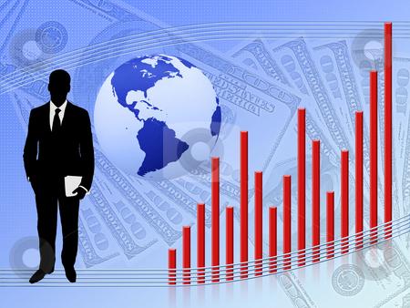 Financial Growth stock photo, Illustration depicting financial growth on a blue background by Dmitriy Kalyuzhnyy