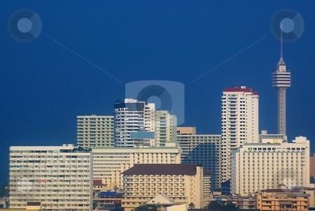 Tower and skyscrapers  stock photo, Tower and skyscrapers with vibrant blue sky. by Oleg Blazhyievskyi