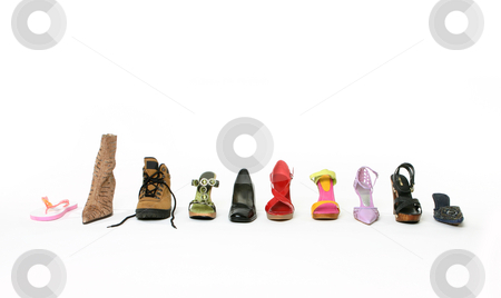 What is your walking style stock photo, Boots, thongs, shoes, sandals, flats and high heels, closed and open toe, laced and buckle, summer and winter, embellished and plain,  a style for every occasion. by Leah-Anne Thompson