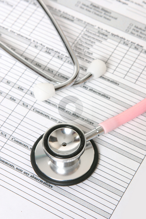 Stethoscope and patient information sheet stock photo, A nurses stethoscope sits on top of a patient records sheet. by Leah-Anne Thompson