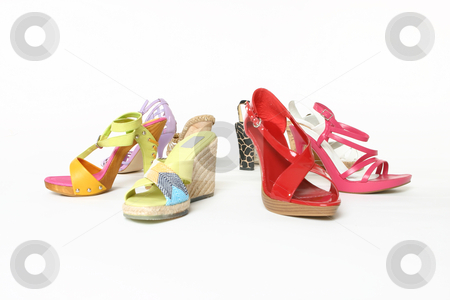 Colourful array of shoes stock photo, Selection of women's shoes. by Leah-Anne Thompson