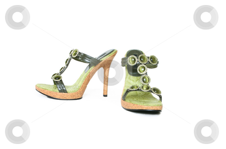 Bejewelled sandals stock photo, A pair of ladies sandals on white background. by Leah-Anne Thompson