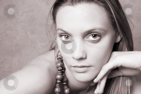 Female Model stock photo, Beautiful female model with big eyes and a string beads by Vanessa Van Rensburg