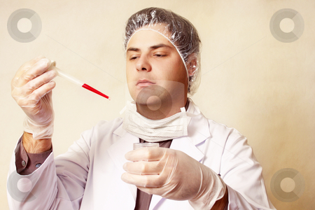 Diagnosis stock photo, Man with sample by Leah-Anne Thompson