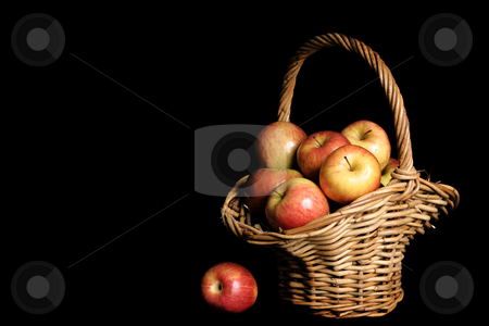 Harvest stock photo, Red Apples in basket with space for copy by Leah-Anne Thompson