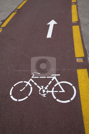 Roadside Bicycle Lane Detail stock photo, ? by Portokalis