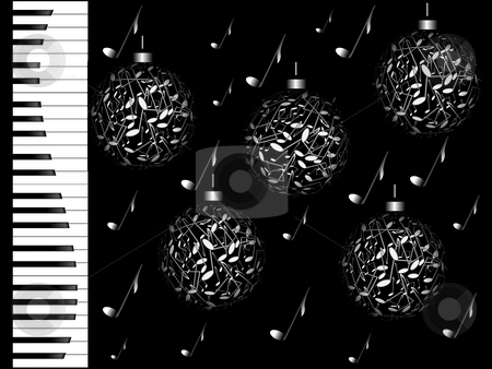 WINTER MELODY stock photo, Piano keys and notes in the form of spheres on a black background by Alina Starchenko