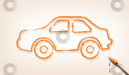 Dream Car stock photo, Brushes stroke car design. (Dream car Concept) by Seeni Vasagams