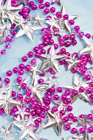 Christmas decoration stock photo, Holiday series: christmas purple and silver garlands by Gennady Kravetsky