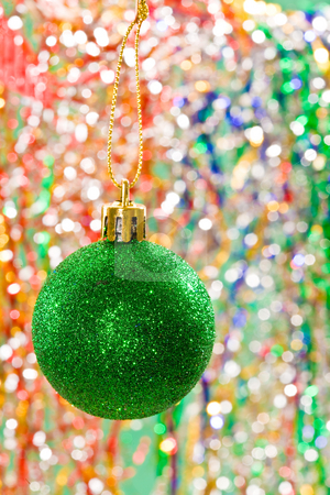 Christmas decoration stock photo, Holiday series: christmas green ball decoration on decorated  background by Gennady Kravetsky