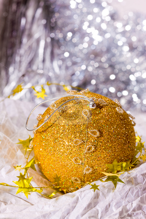 Golden Christmas decoration stock photo, Holiday series: golden Christmas stars garland and ball by Gennady Kravetsky
