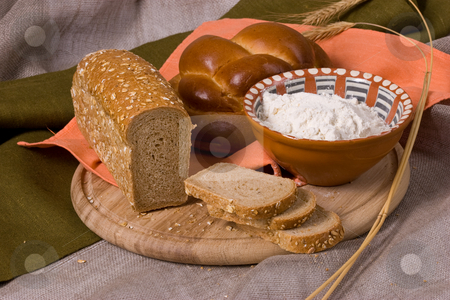 Bread stock photo, Food stuff: still life with various baked bread by Gennady Kravetsky