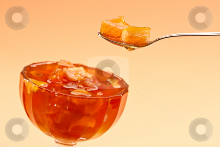Apple jam stock photo, Food series: apple jam in tea spoon by Gennady Kravetsky