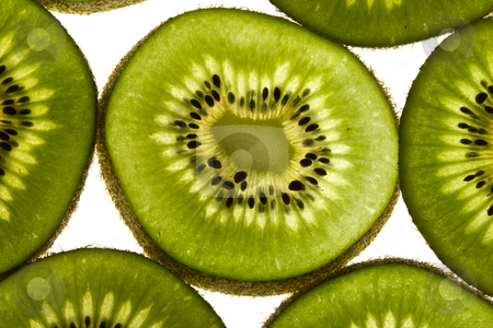 Kiwi background stock photo, Food series: macro picture of sliced Kiwi Fruit by Gennady Kravetsky