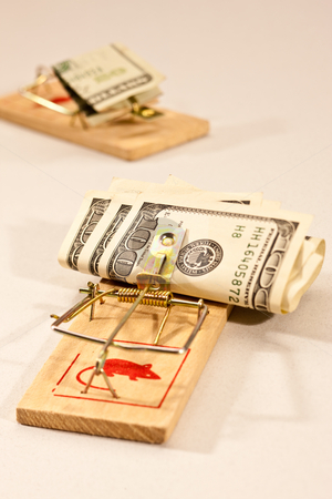 Money trap stock photo, Conceptual series: two money trap with dollar banknotes by Gennady Kravetsky