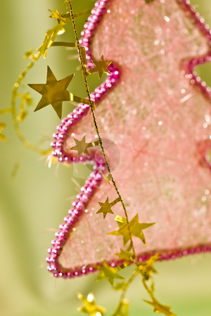 Christmas decoration stock photo, Holiday series:  Christmas fir and the golden garland by Gennady Kravetsky