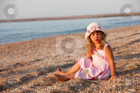 Nice girl stock photo, People series: little girl in pink clothes by Gennady Kravetsky