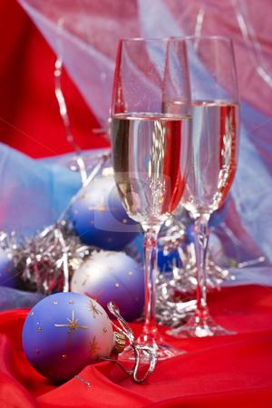 Christmas still life stock photo, Holiday series: Christmas still life with garland and champagne by Gennady Kravetsky