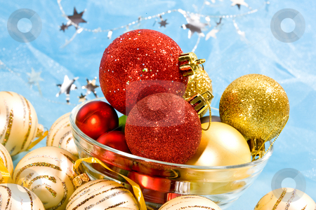 Christmas decoration stock photo, Holiday series: christmas red and golden ball in bowl by Gennady Kravetsky
