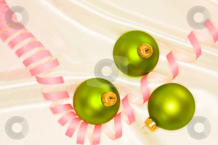 Christmas decoration stock photo, Holiday series: Christmas green ball decoration and streamer by Gennady Kravetsky