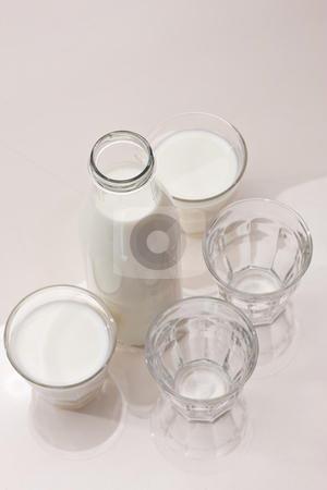 Milk stock photo, Food series: bottle and glass full of milk by Gennady Kravetsky