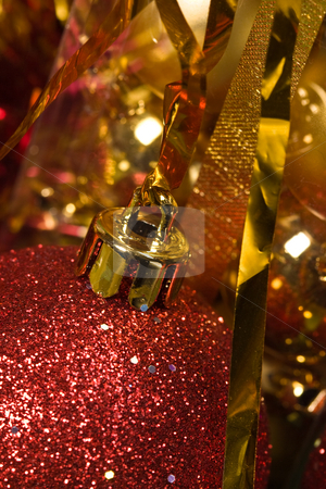Christmas ball stock photo, Holiday series: red and golden christmas balls and garland by Gennady Kravetsky
