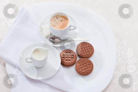 Coffee stock photo, Drink series: cup of coffee with chocolate pastry by Gennady Kravetsky