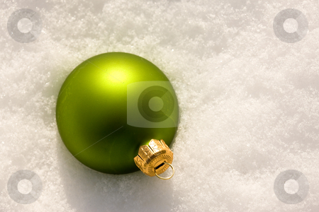 Christmas decoration stock photo, Holiday series: Christmas green ball decoration and snow by Gennady Kravetsky