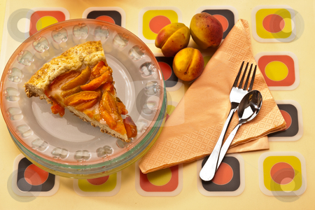 Apricot cake stock photo, Food series: tasty apricot cake and fruit by Gennady Kravetsky