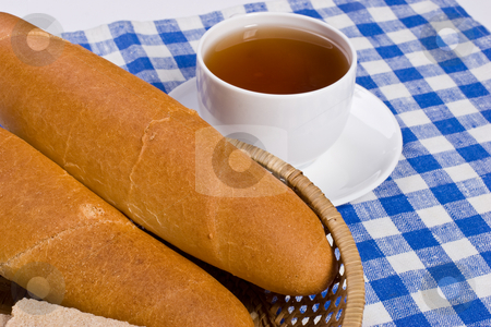 Breakfast stock photo, Two bun on the plate and cup of tea by Gennady Kravetsky