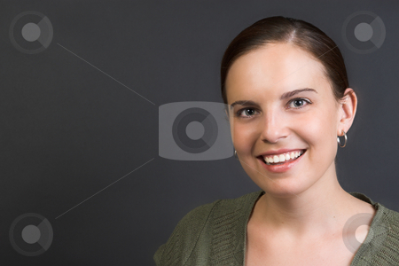 Adult Model stock photo, Beautiful brunette female against a dark background by Carla Booysen