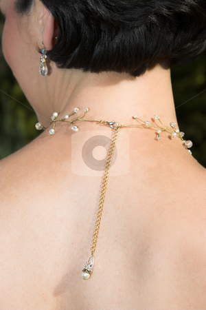 Beautiful Bride stock photo, Back of a beautiful brunette, jewelery hanging down her back by Carla Booysen