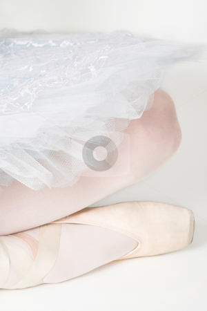 Ballet Shoe stock photo, Ballerina legs and shoe with white tutu by Carla Booysen