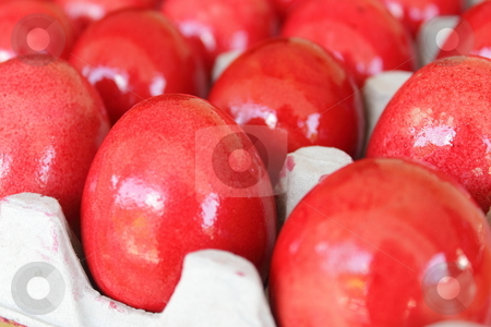 Red Colored Eggs stock photo, A Chinese tradition to distribute red eggs on the day one month after birth. Colored eggs are also for Easter celebration. by Ah Hock Ong