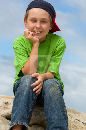 Happy Youth stock photo, Smiling contented child by Leah-Anne Thompson