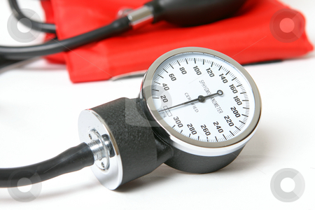 Blood pressure instrument stock photo, Sphygmomanometer - an inflatable cuff used to measure blood pressure by Leah-Anne Thompson