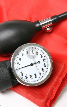 Sphygmomanometer stock photo, Guage, pump and cuff closeup by Leah-Anne Thompson